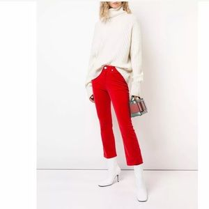 RE/DONE High-Rise Velvet Crop Kick Flare Jeans- 25